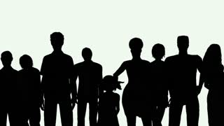 320x180 Group Of People Silhouettes Against A Sun Background Motion
