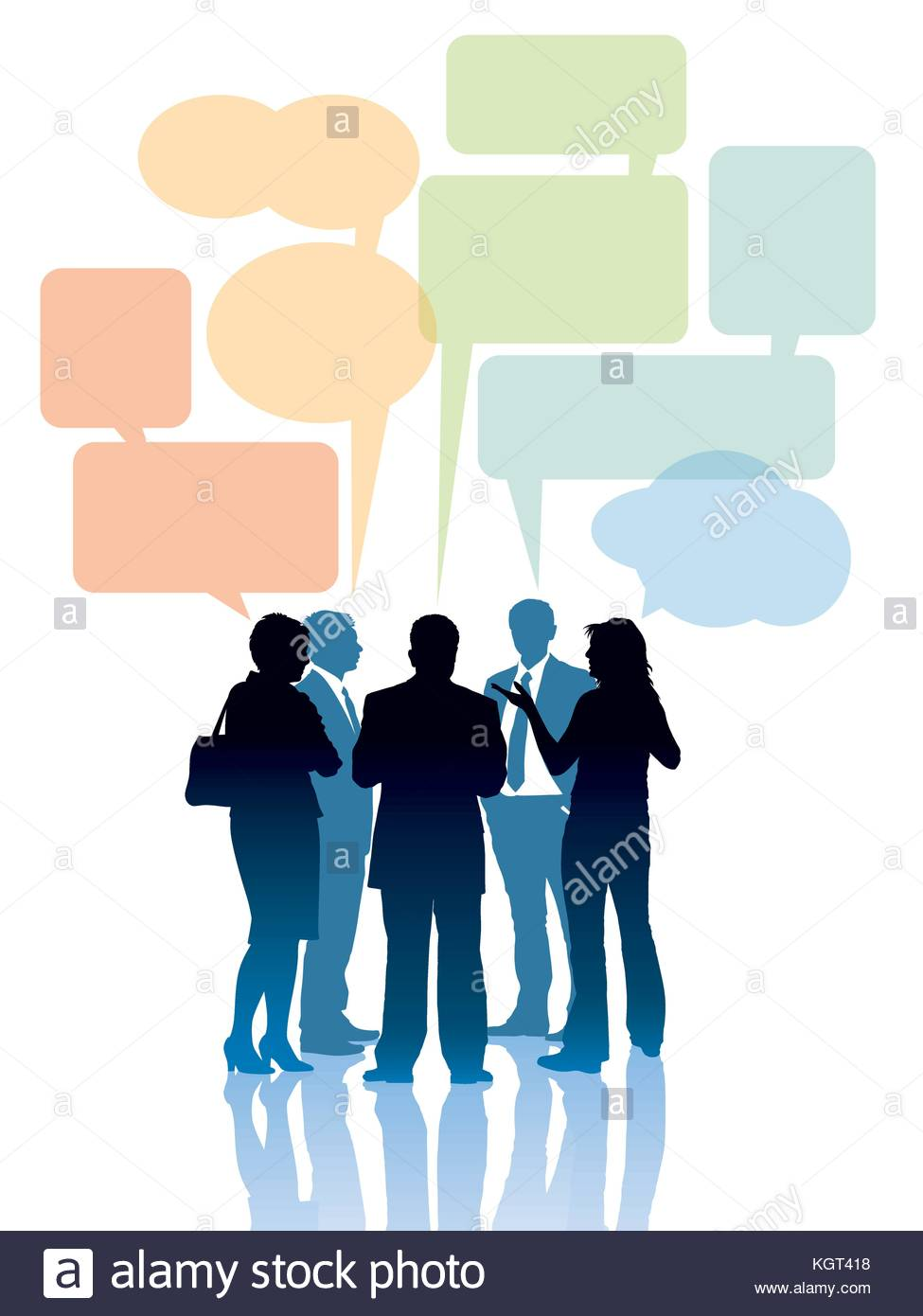 975x1390 Group Discussion Stock Vector Images
