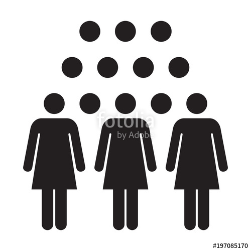 500x500 People Icon Vector Group Of Women Team Person Symbol For Business