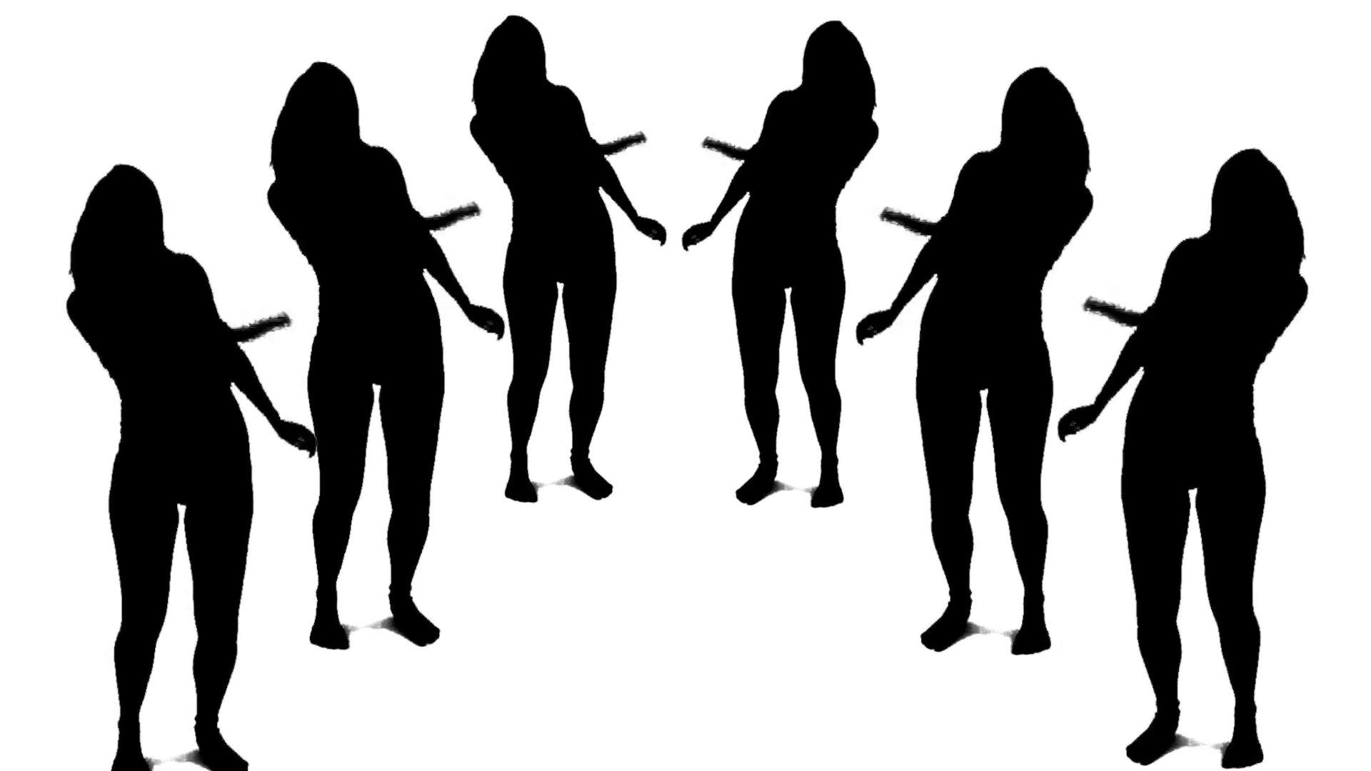 1920x1080 Group Of Dancing Silhouette White Background Motion Background