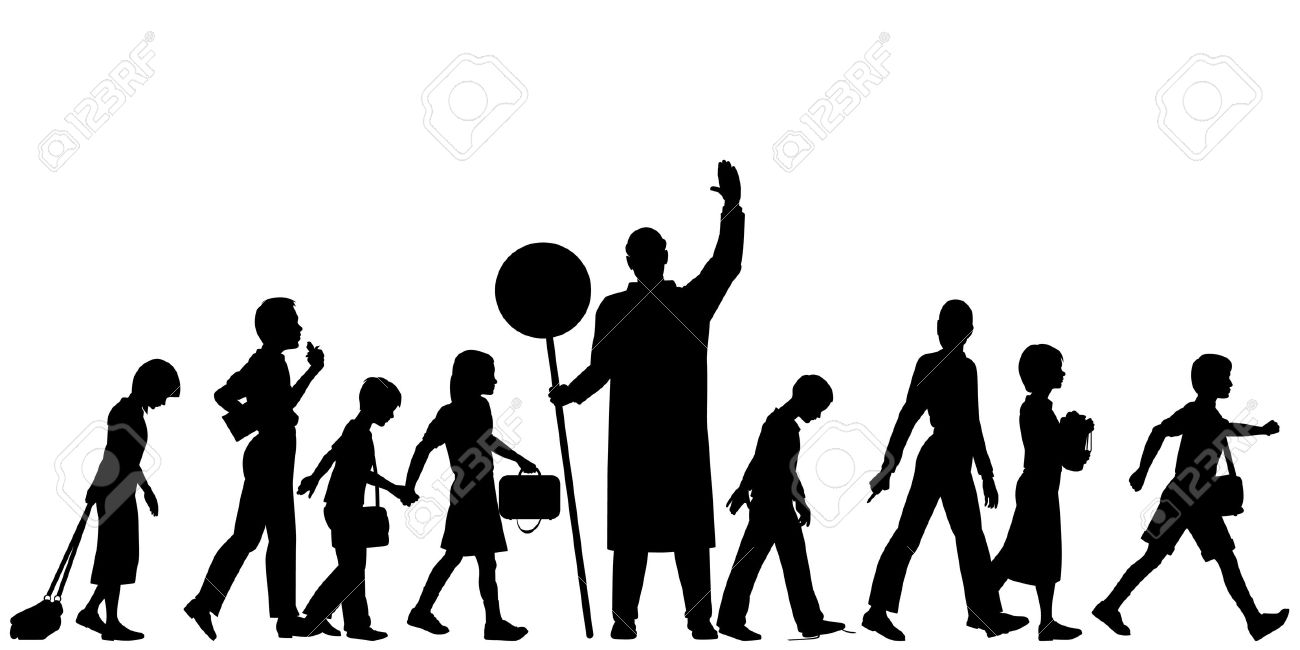 1300x650 Group Of People Crossing Street Silhouette Clipart