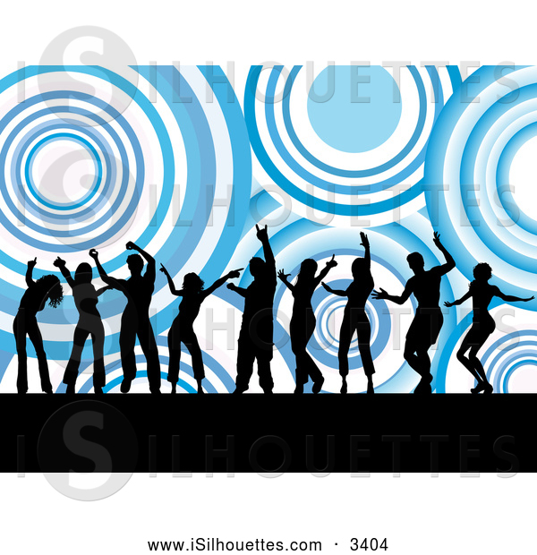 600x620 Silhouette Clipart Of A Group Of Nine Black Dancers Silhouetted