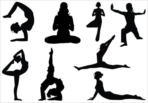 501x351 Yoga Silhouette Group Clipart