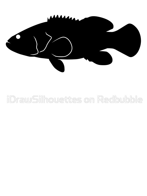 600x800 Goliath Grouper Fish Silhouette (Black) Stickers By