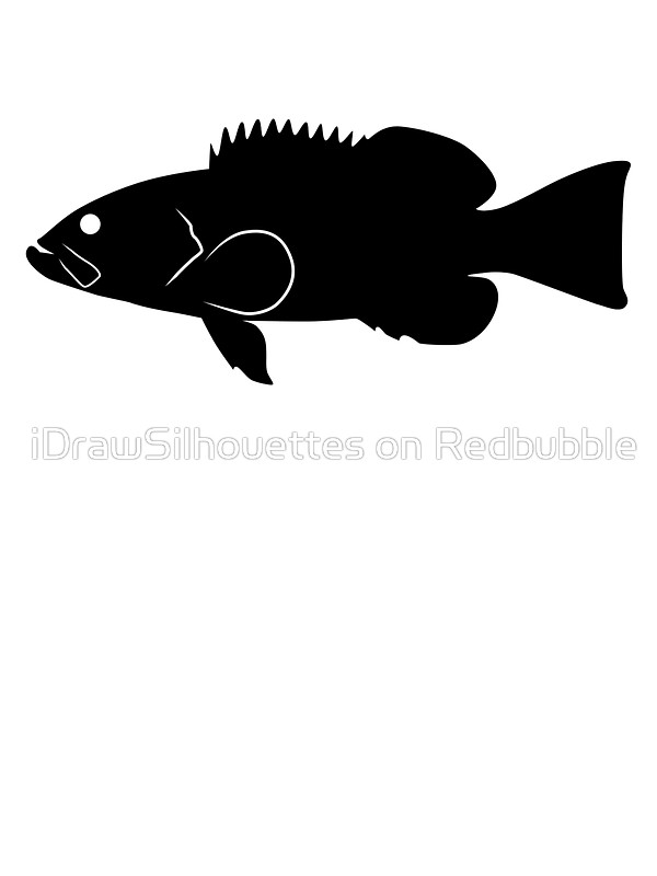 600x800 Grouper Fish Silhouette (Black) Stickers By Idrawsilhouettes