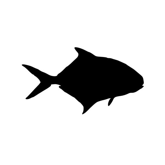 570x570 Pompano Silhouette Fishing Vinyl Diecut Decal Car Truck Window