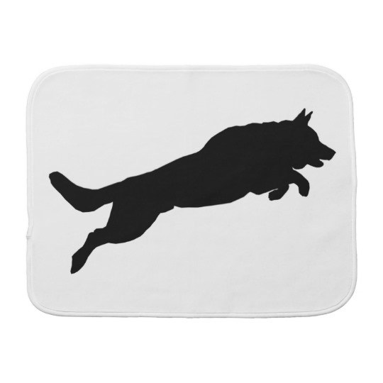 540x540 Jumping German Shepherd Silhouette Love Dogs Burp Cloth Zazzle.co.uk