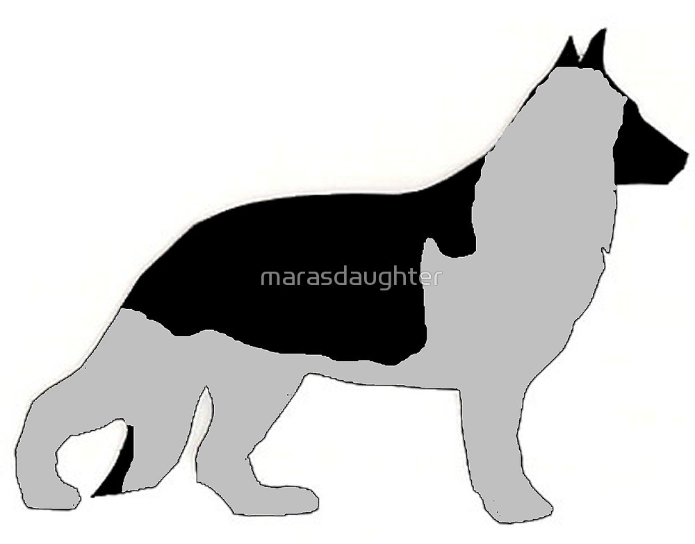 1000x783 German Shepherd Black And Silver Silhouette By Marasdaughter