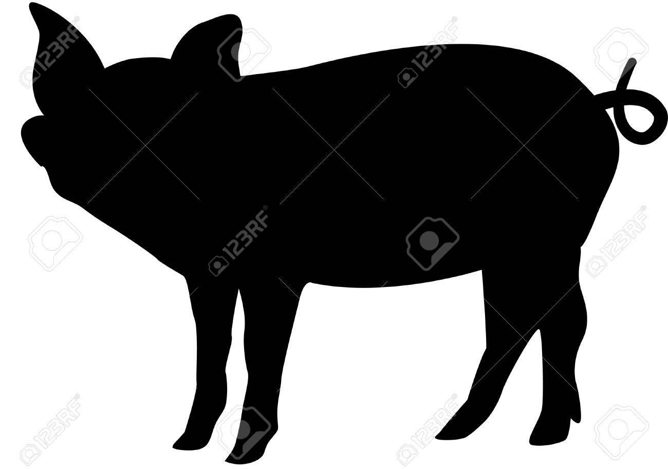1300x912 Pig Silhouette Clip Art