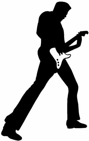 300x473 Guitar Player Silhouette Decal Car Or Truck Window Decal Sticker