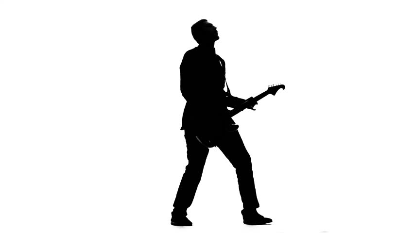 852x480 Guitarist Plays Bass Guitar. Silhouette. Studio Stock Footage