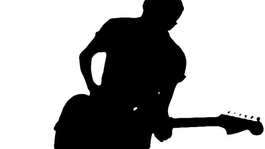 852x480 Silhouette Of A Young Guitarist Playing Guitar Energically Stock