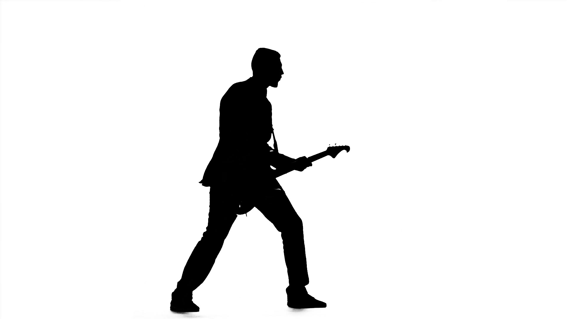 1920x1080 Video Silhouette Of A Guitar Player. Playing The Instrument. Slow