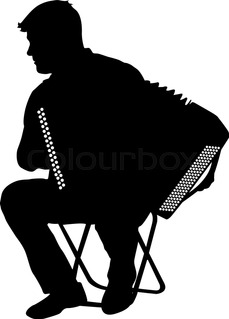 229x319 Black And White Sketch Of A Man Playing The Accordion Stock