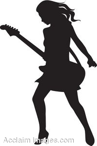 200x300 Clip Art Of The Silhouette Of A Female Electric Guitar Player