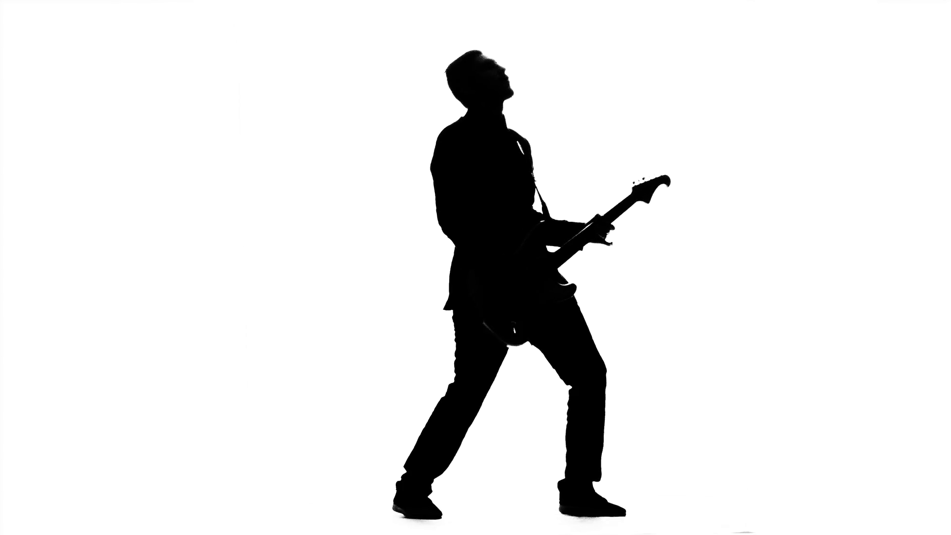 1920x1080 Guitarist Plays Bass Guitar. Silhouette. Studio Stock Video