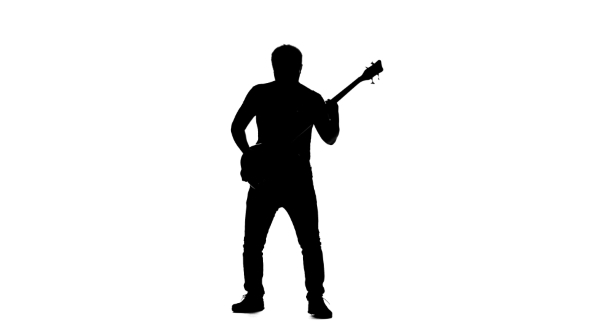 590x332 Silhouette Musician Man Playing The Electric Bass Guitar. White