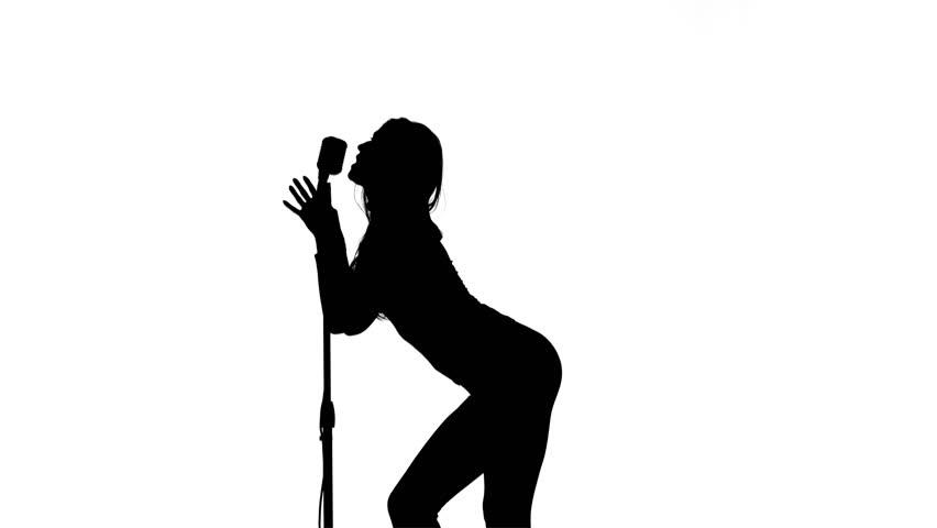 852x480 Girl Plays The Guitar And Sings. White Background. Silhouette