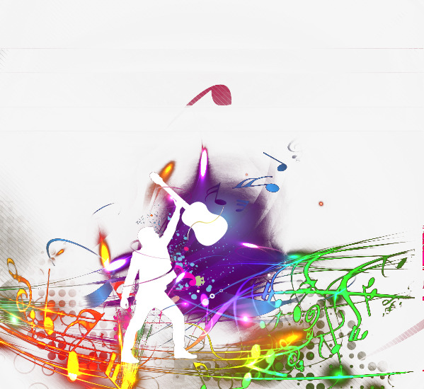599x550 Colorful Music, Guitar, Silhouette Figures, Colorful Png Image