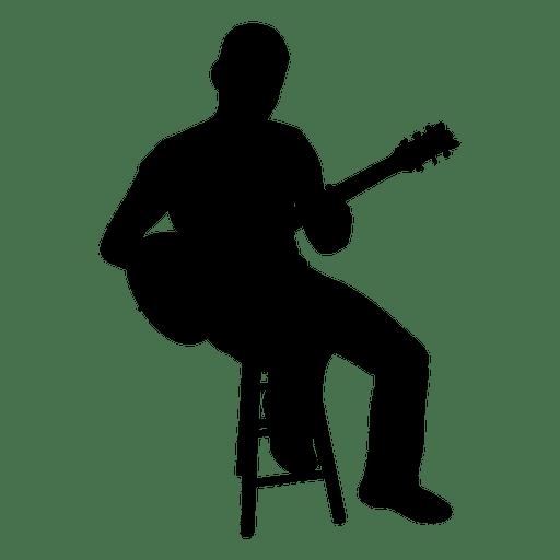 512x512 Guitarist Sitting Silhouette