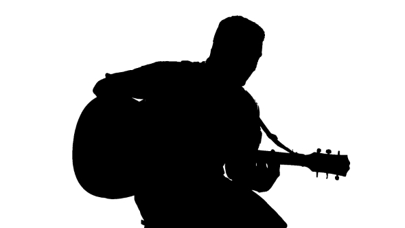 590x332 Black Silhouette Of Guy Playing Guitar On A White By Lovevision
