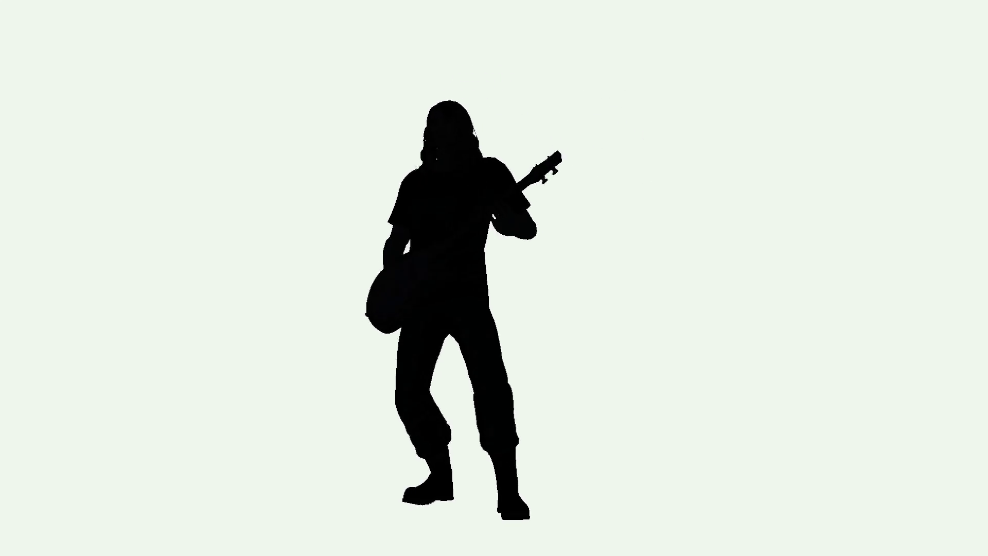 1920x1080 Rock Musician Guitar Player Silhouette On White Background Motion