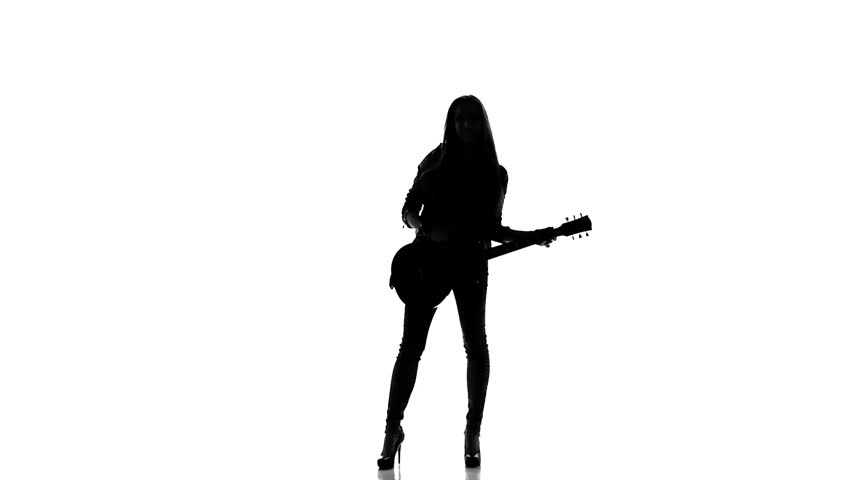 852x480 Silhouette Of A Young Girl Dancing With Electric Guitar On A White