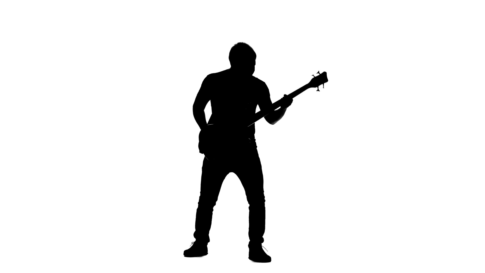 1920x1080 Silhouette Bass Guitarist Playing On Her Knees. Alpha Channel