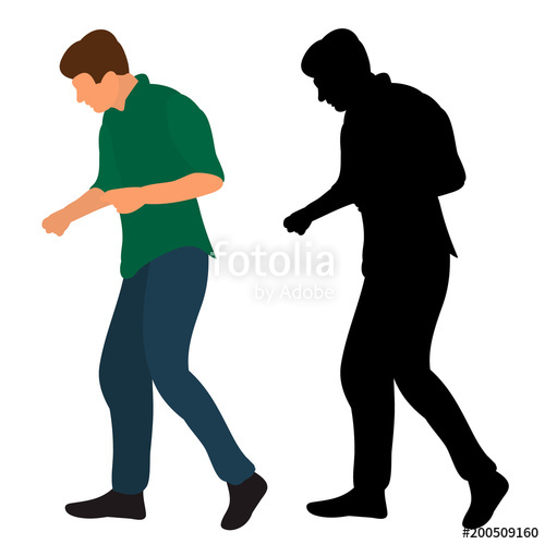 500x499 Silhouette In Colored Clothes Guy Dancing Dance Stock Image