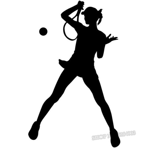600x600 Female Tennis Player Silhouette Wall Decals Sports Girls Room