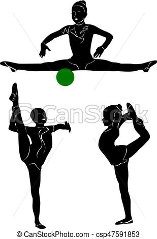 309x470 Gymnastics1.eps. Silhouettes Of Gymnasts With Various Sports