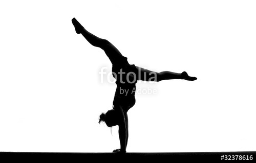 500x319 Silhouette Of Female Gymnast Doing Handstand On Balance Beam