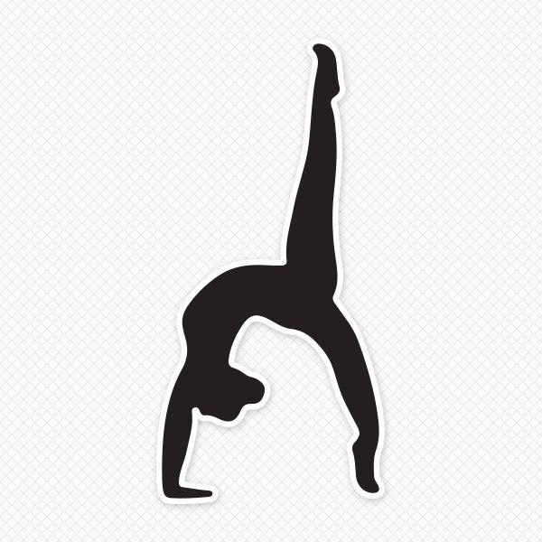 600x600 Solid Black Gymnast Silhouette Sticker Gymnastics Silhouettes