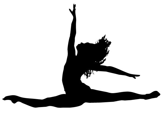 574x412 Leaping Dancer Silhouette Clipart