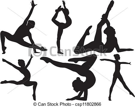 450x355 Silhouettes Of Women Practicing Gymnastics And Fitness Clip Art