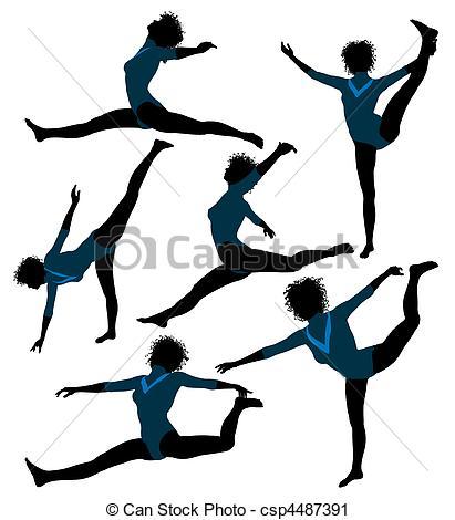 411x470 Female African American Gymnast Illustration Silhouette