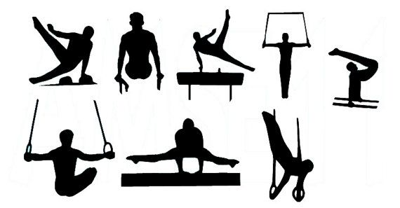 570x297 Male Gymnast Gymnastics Silhouette Die Cut Files Collection Male