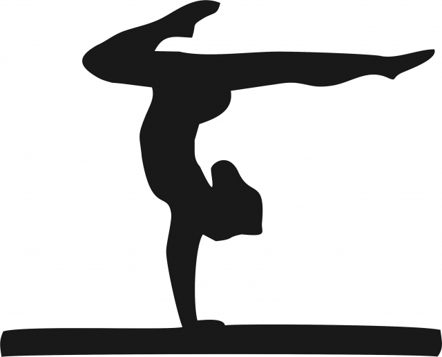 640x517 Gymnast On Balance Beam Silhouette Laser Cut Appliques
