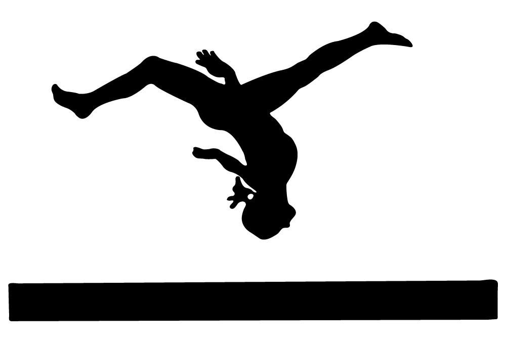 1000x678 Gymnastics Silhouette Style Balance Beam Wall Decal Wallmonkeys