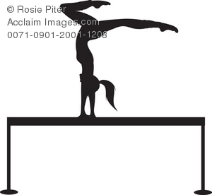 300x276 Clip Art Illustration Of A Silhouette Of A Gymnast On A Balance Beam