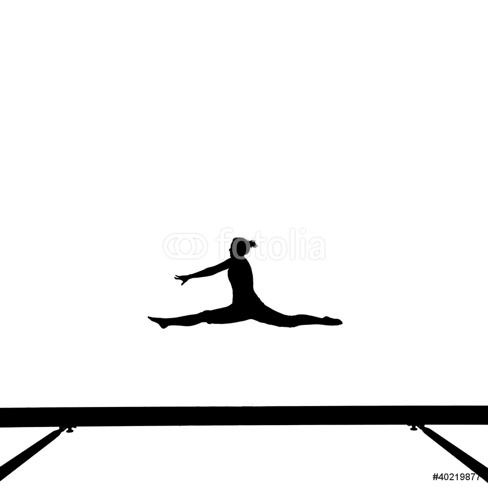 1000x1000 Silhouette Of Gymnast Doing The Splits Jump On Balance Beam Wall