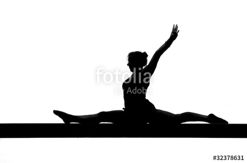 500x331 Silhouette Of Female Gymnast Doing The Splits On Balance Beam
