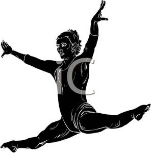 296x300 Black Silhouette Of A Girl Gymnast Performing The Splits