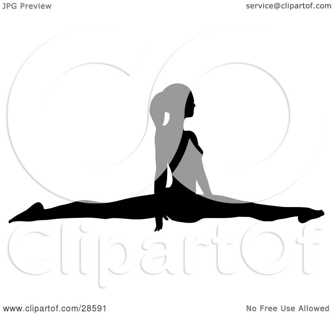 1080x1024 Clipart Illustration Of A Black Silhouetted Female Gymnast Doing
