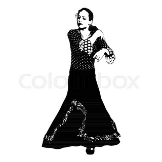 320x320 The Girl Dancing Flamenco Silhouette On A White Background