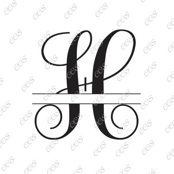 570x570 Digital Cut File Split Vine Letters Letter H H Split H