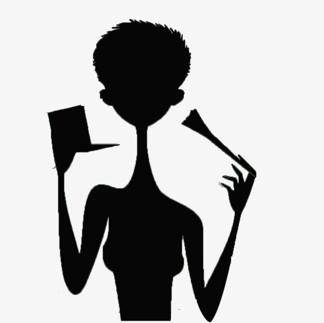 650x648 Short Haired Girl Holding A Makeup Brush Black Silhouettes, Girl