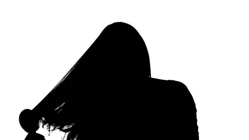 852x480 Woman Brushingcombing Her Hair Black Front Silhouette Of A Long