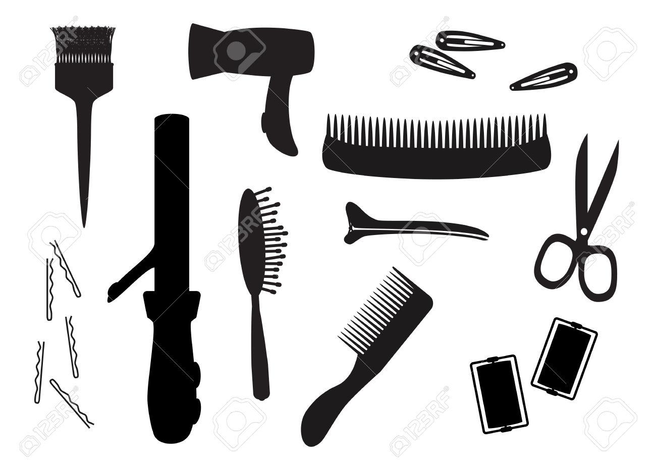 1300x928 Cuisine Black Hair Salon Equipment Silhouettes Royalty Free