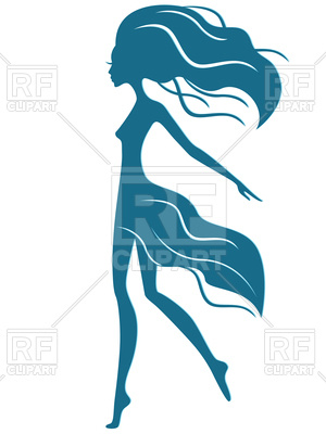 300x400 Girl With Waving Hair In Motion Royalty Free Vector Clip Art Image